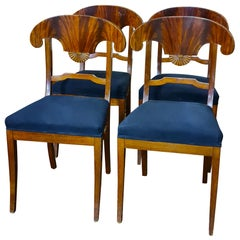 Swedish Biedermeier Dining Chairs Mahogany Set of 4 1800s Carver Chairs