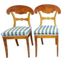 Swedish Biedermeier Dining Chairs Pair Golden Birch Honey Color, 19th Century