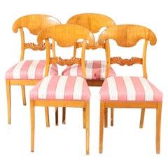 Swedish Biedermeier Dining Chairs Set of 12 Flame Golden Birch Honey Colour 1800