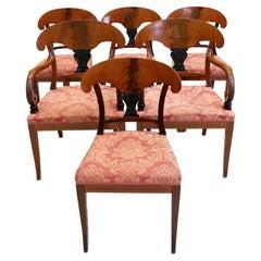 Swedish Biedermeier Dining Chairs Set of 6 Flame Mahogany Antique Deco