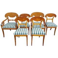 Swedish Biedermeier Dining Chairs Set of 6 Golden Birch Honey Color 19th Century
