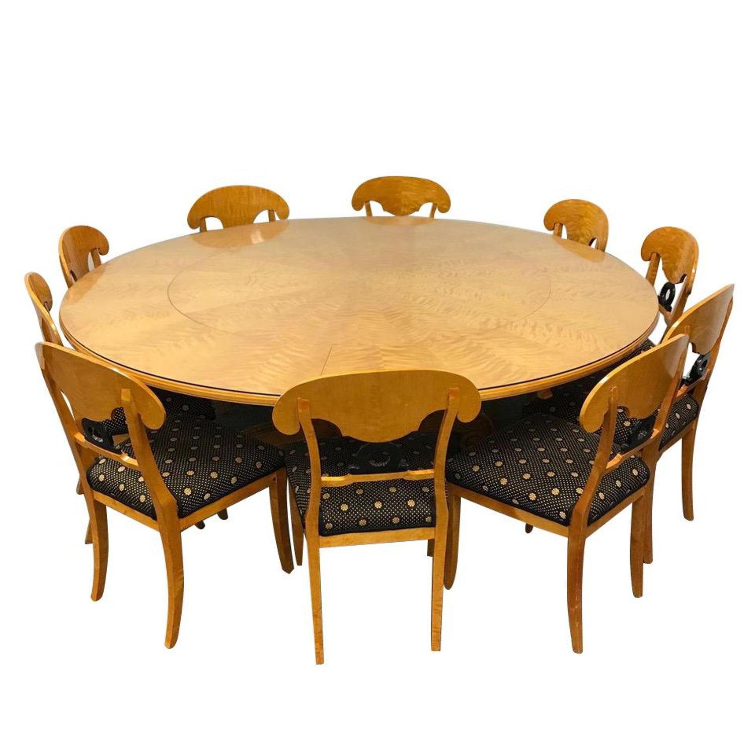1800s Swedish Biedermeier Dining Suite 10 Chairs Extension 80 Round