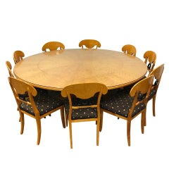 Swedish Biedermeier Dining Suite 10 Chairs Large Extension Round Dining Table