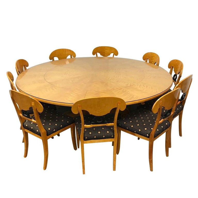 Dining Table Set For 10: 1800s Swedish Biedermeier Dining Suite 10 Chairs Extension