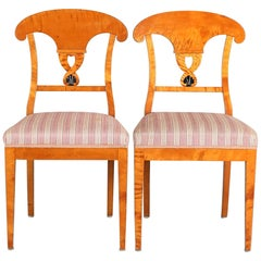 Swedish Biedermeier Empire Antique Dining Chairs 19th Century Ormolu Style, Pair