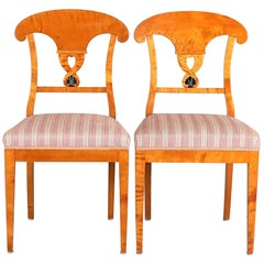 Swedish Biedermeier Empire Antique Dining Chairs 19th Century Ormolu Style, Pair