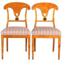 Swedish Biedermeier Empire Roundel Dining Chairs, 19th Century Ormolu Style Pair
