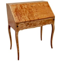 Swedish Biedermeier Revival Secretary in Highly Figured Golden Birch, circa 1910