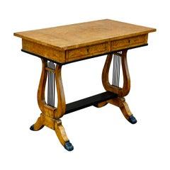 Swedish Biedermeier Revival Writing Table in Golden Flame Birch, circa 1920