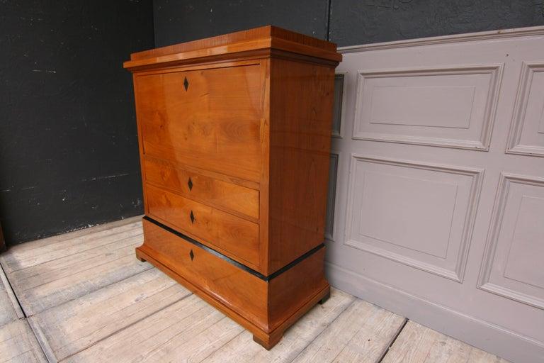 Swedish Biedermeier Secretary, Cherrywood Veneer, French Polished For Sale 8