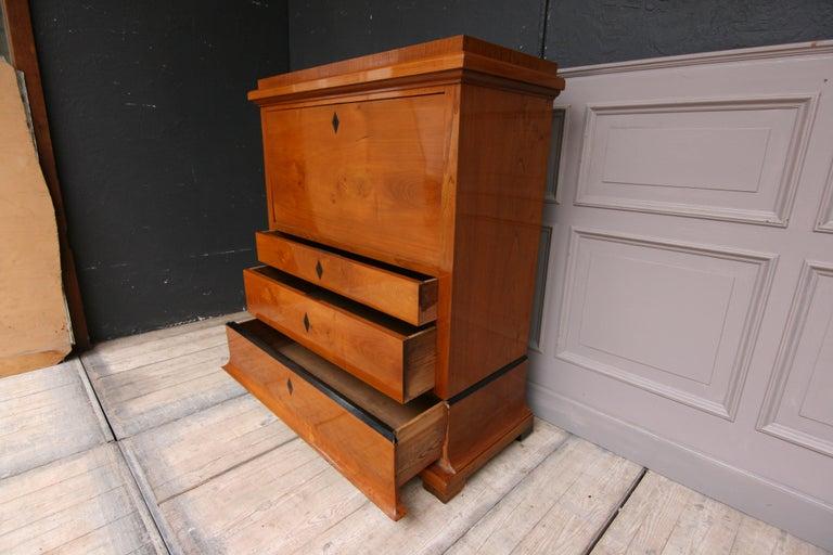 Swedish Biedermeier Secretary, Cherrywood Veneer, French Polished For Sale 9