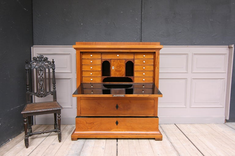 Original Biedermeier secretary from Sweden, circa 1830-1840. Cherrywood veneer. Expertly hand-polished with shellac (French polish).  Half-high body, consisting of the expansive base with a large drawer, and sitting on it the main part with 2