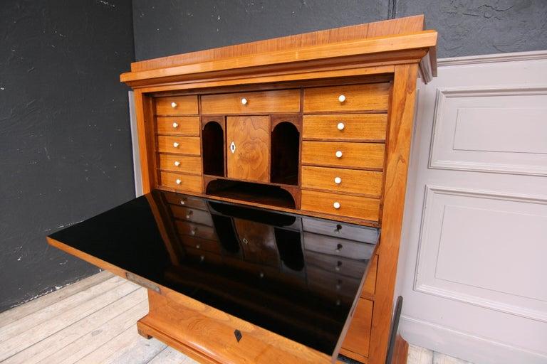 19th Century Swedish Biedermeier Secretary, Cherrywood Veneer, French Polished For Sale
