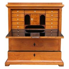 Swedish Biedermeier Secretary, Cherrywood Veneer, French Polished
