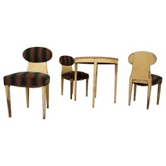 Swedish Biedermeier Set of Three Chairs and One Side Table, 1860