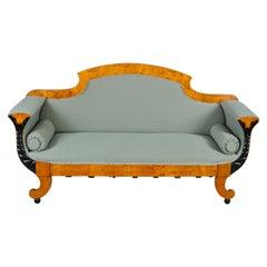 Swedish Biedermeier Sofa Empire Couch Honey Color, 2-3 Seat, 19th Century Ormolu