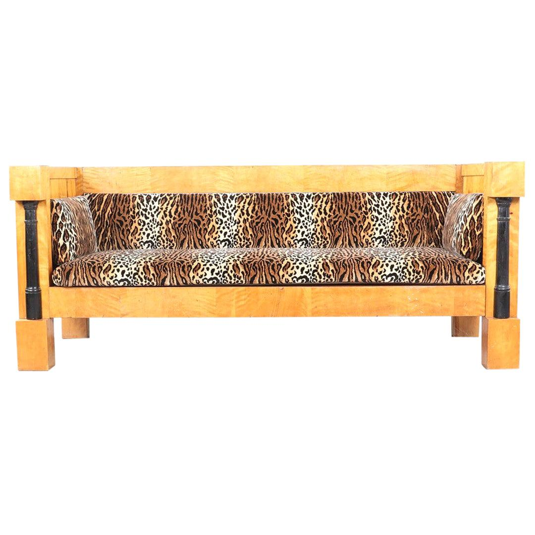 Swedish Biedermeier Sofa Empire Couch Honey Color, 3-4 Seat, 19th Century