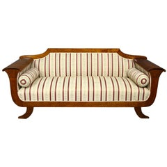 Swedish Biedermeier Sofa Settee Couch 3-4 Seat Carved Arms Art Deco, Early 1900s