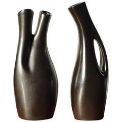 Swedish Black Glazed Ceramic Vases by Lillemor Mannerheim, Set of Two