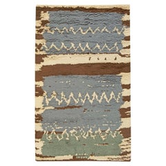 Swedish Blue, Green with Brown and Beige Pile Wool Rug