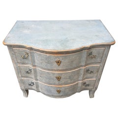Swedish Blue Painted 19th Century Chest of Drawers