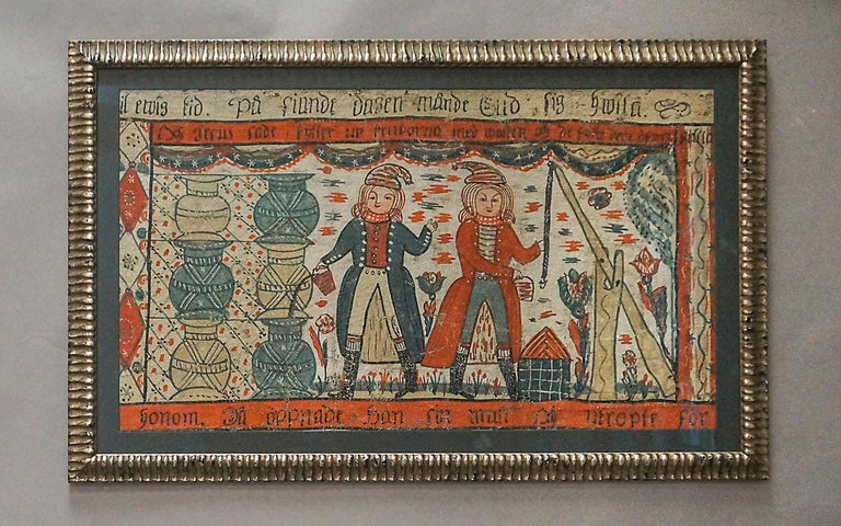 Fascinating example of Swedish Folk Art, this bonad dated 1818 shows the scene from Matthew's gospel story of the wedding at Cana when the servants fill six stone jars with water and then draw out wine for the feast. The two servants are depicted
