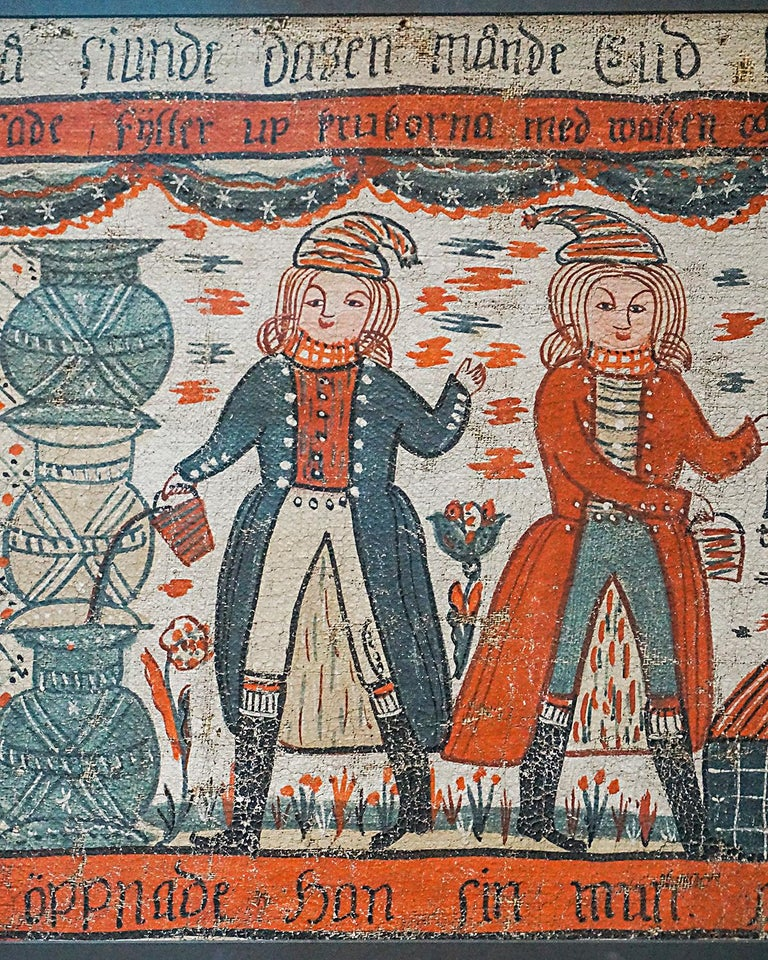 Hand-Painted Swedish Bonad, Water into Wine For Sale
