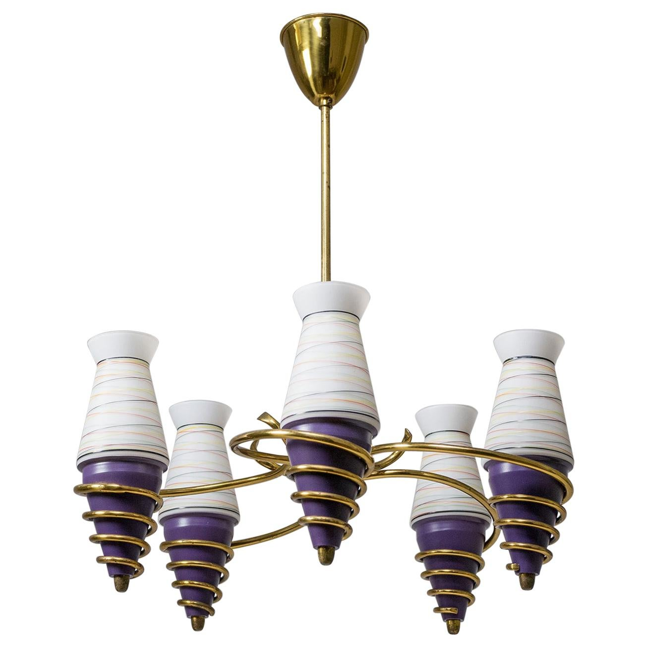 Swedish Brass and Enameled Glass Chandelier, 1940s