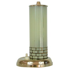Swedish Brass and Striped Glass Table or Bedside Lamp, 1940s