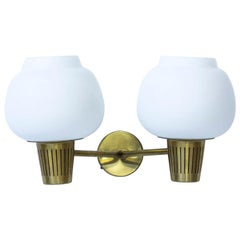 Swedish Brass and Opaline Glass Wall Lamp by Hans Bergström for Ateljé Lyktan