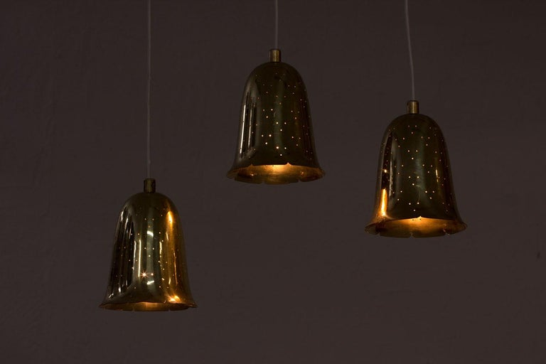 20th Century Swedish Brass Pendant Lamps by Boréns, 1950s, Set of 3 For Sale