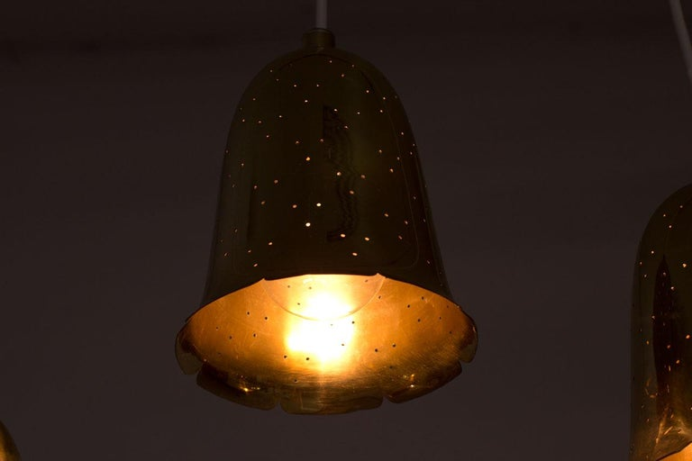 Swedish Brass Pendant Lamps by Boréns, 1950s, Set of 3 For Sale 1