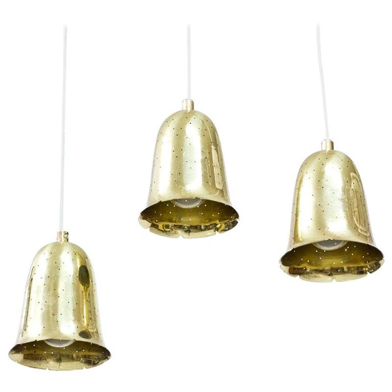 Swedish Brass Pendant Lamps by Boréns, 1950s, Set of 3 For Sale