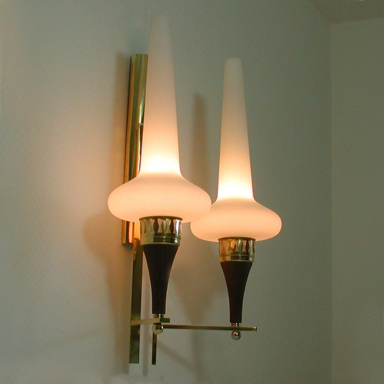 Swedish Brass Teak and Opaline Glass Wall Light Hans Bergström for ASEA, 1950s For Sale 4