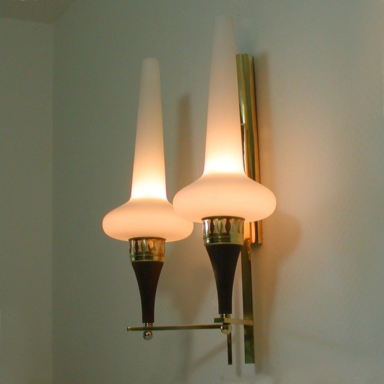 Swedish Brass Teak and Opaline Glass Wall Light Hans Bergström for ASEA, 1950s For Sale 6