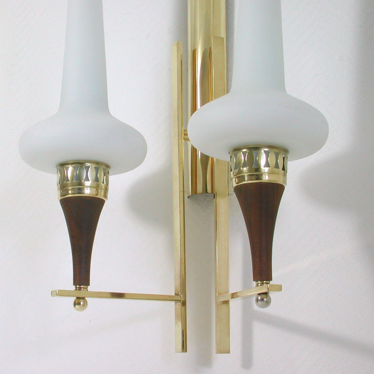 Lacquered Swedish Brass Teak and Opaline Glass Wall Light Hans Bergström for ASEA, 1950s For Sale