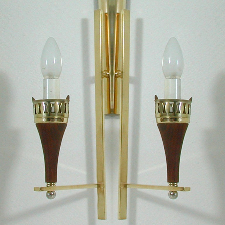 Swedish Brass Teak and Opaline Glass Wall Light Hans Bergström for ASEA, 1950s For Sale 2