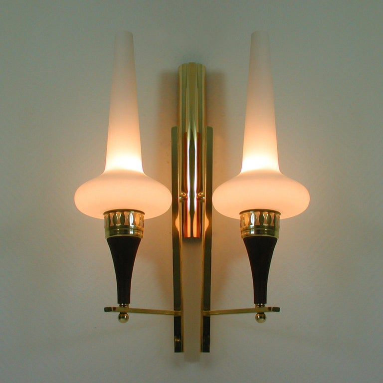 Swedish Brass Teak and Opaline Glass Wall Light Hans Bergström for ASEA, 1950s For Sale 3