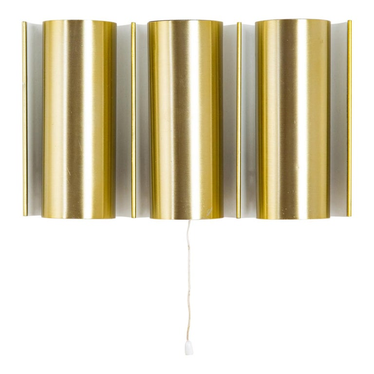 Swedish Brass Wall Lamp in the Style of RAAK For Sale