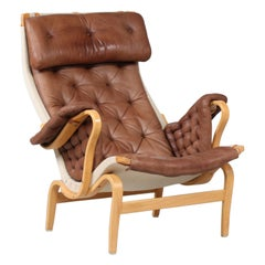 Swedish Bruno Mathsson Pernilla Easy Chair of Beech and Cognac Colored Leather