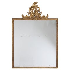 Swedish circa 1900 Giltwood Overmantle Mirror with Crest and Mercury Glass