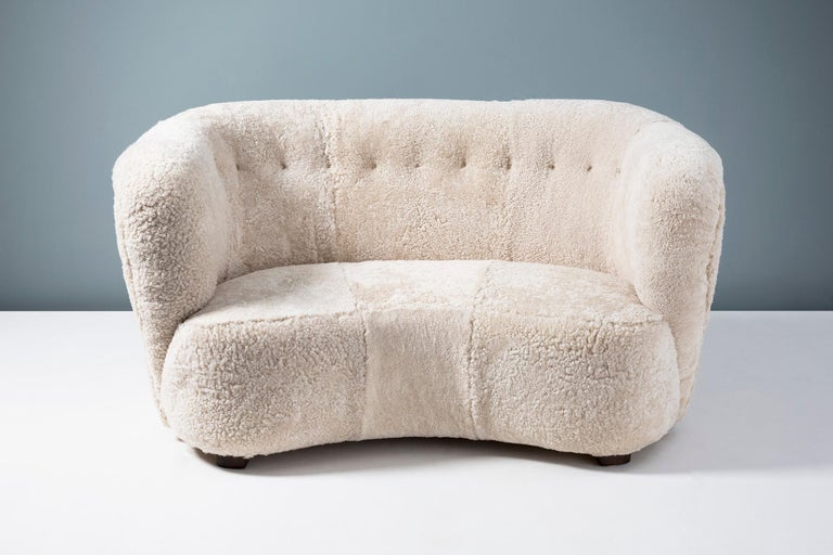 Swedish cabinetmaker 1950s Sheepskin loveseat sofa
