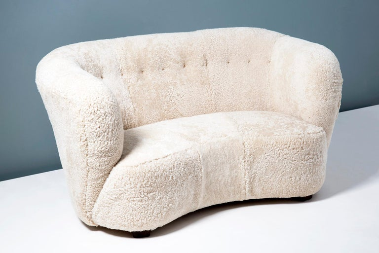 Swedish Cabinetmaker 1940s Sheepskin Loveseat Sofa For Sale 1