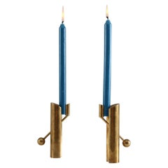Swedish Candle Holders in Brass by Pierre Forsell for Skultuna, 1960s