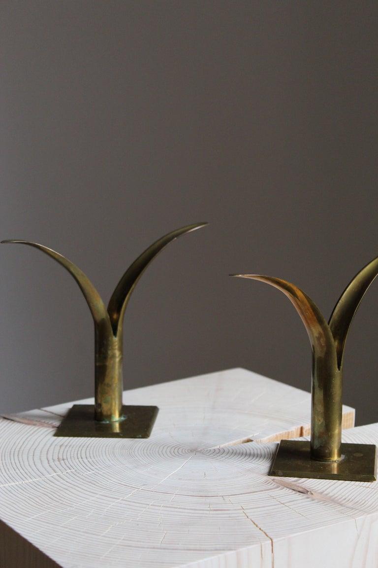 Mid-Century Modern Swedish, Candlesticks, Brass, Sweden, 1950s