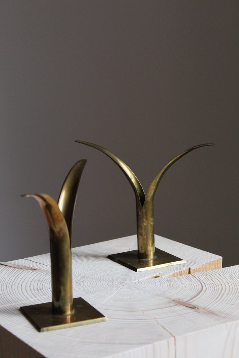 Swedish, Candlesticks, Brass, Sweden, 1950s In Good Condition In West Palm Beach, FL