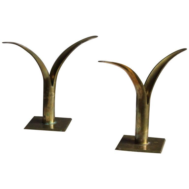 Swedish, Candlesticks, Brass, Sweden, 1950s
