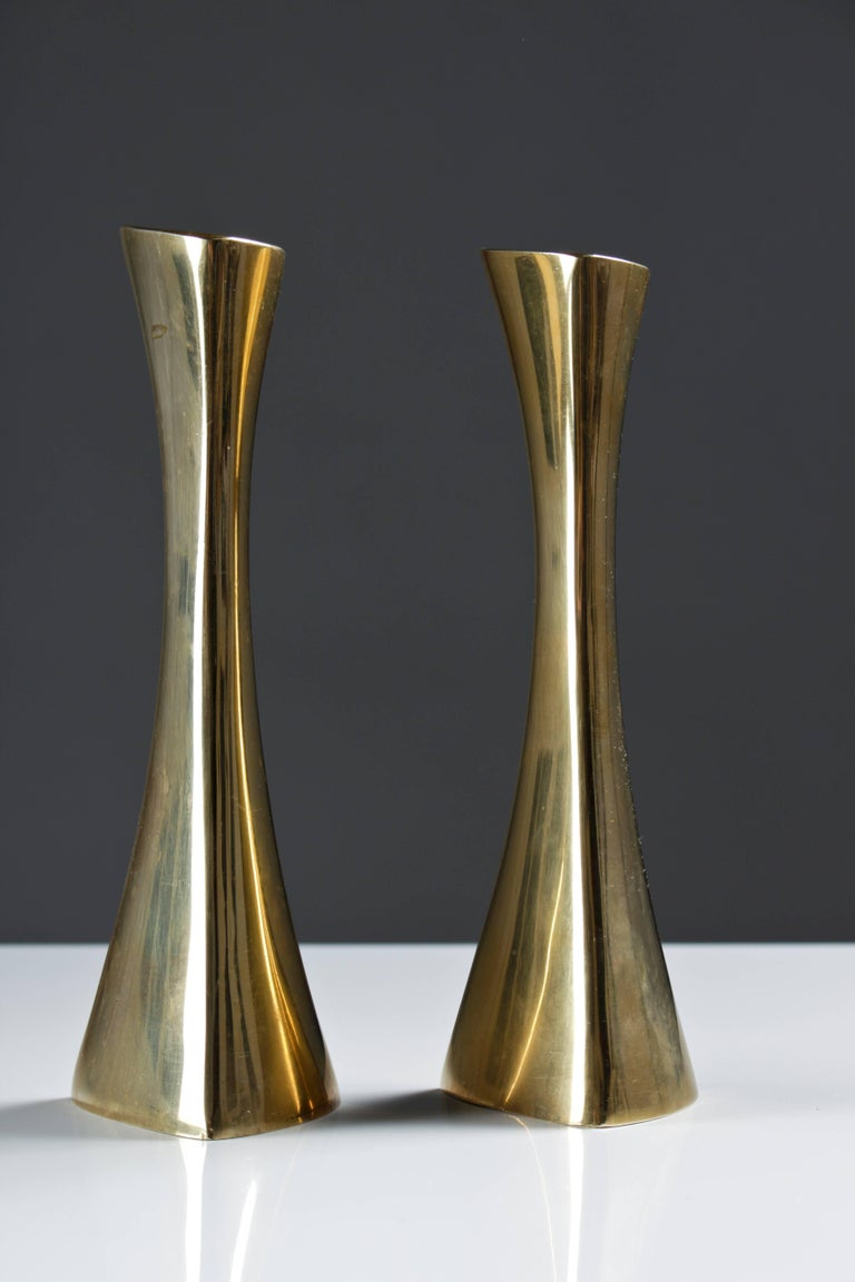 Beautiful, organic shaped candlesticks in brass by K-E Ytterberg for BCA Eskilstuna.