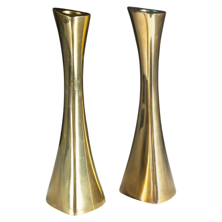Swedish Candlesticks in Solid Brass by BCA Eskilstuna For Sale