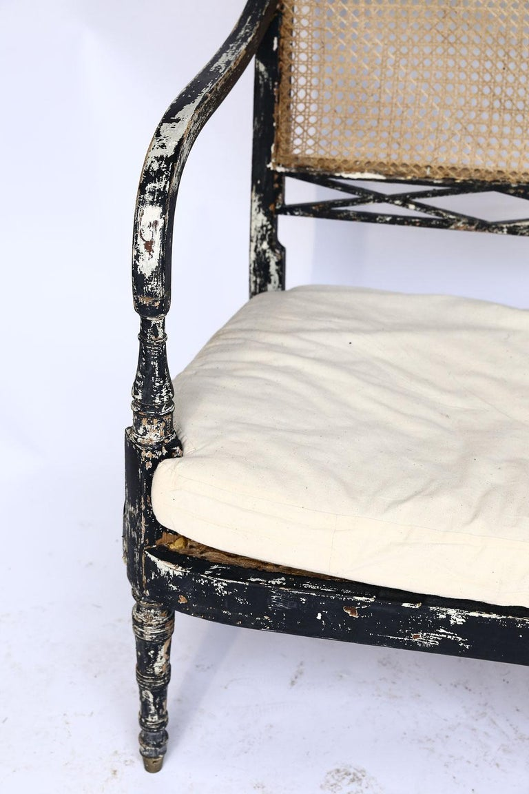 Swedish Cane Back Settee In Good Condition For Sale In Houston, TX